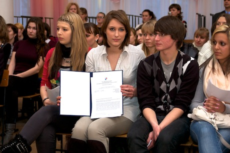 Russian and German students at the farewell meeting at TGPI Teachers' College
