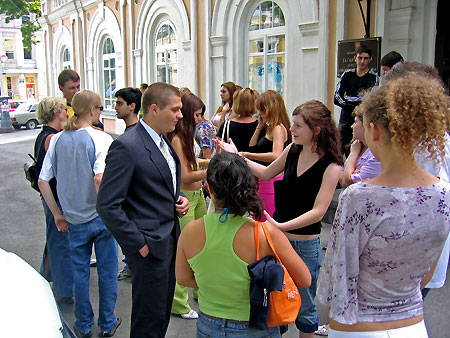 Russian and German students at the entrance of the Taganrog Management and Economics College