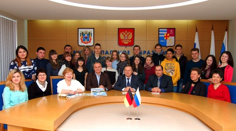 Russian and German students at the reception by the Mayor of Taganrog
