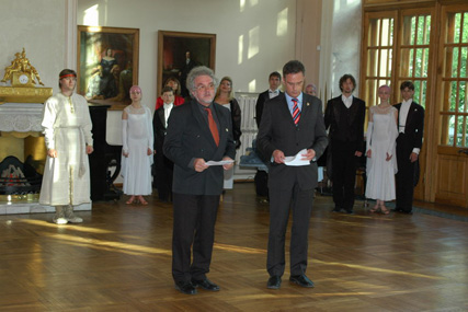 Mayor Engler (right) and Mr. Setzer (left, translating into Russian) at the official party given at the Alferaki Palace, May, 20