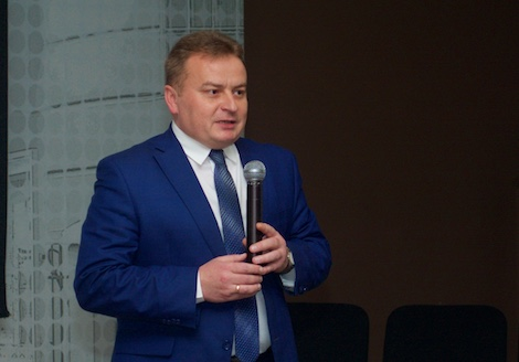 Andrei Goloborodko, Taganrog Teachers College director speaks at the opening ceremony