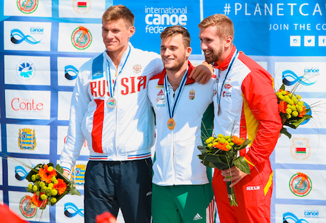 Silver medalist Oleg GUSEV (left) on the podium