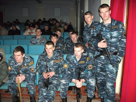 Young men of the military patriotic club Peresvet in khartsyzsk