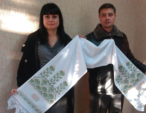 Deputy Mayors of Khartsyzsk with a traditional towel