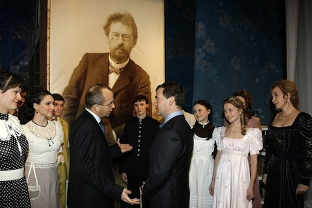 President Medvedev on stage with Taganrog Chekhov Theater actors