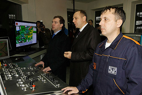 Dmitri Medvedev At the Taganrog Metallurgical Works. With Chairman of the TMK (Pipe Metallurgical Company) Board of Directors Dmitry Pumpyansky.